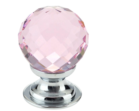 Pink Facetted Glass Mortice Door Knobs, Polished Chrome - FB301CPP ...