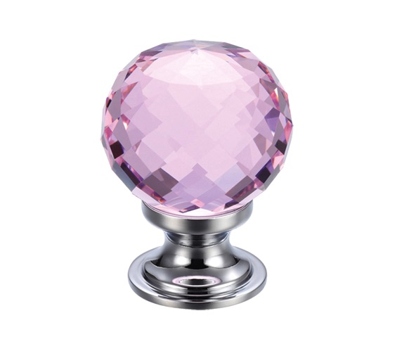 Zoo Hardware Fulton & Bray Pink Facetted Glass Ball Cupboard Knobs (25mm Or 30mm), Polished Chrome Base - FCH03CPP None
