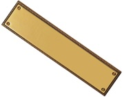 Carlisle Brass Georgian Beaded Finger Plate (305mm x 73mm), Polished Brass - FG10
