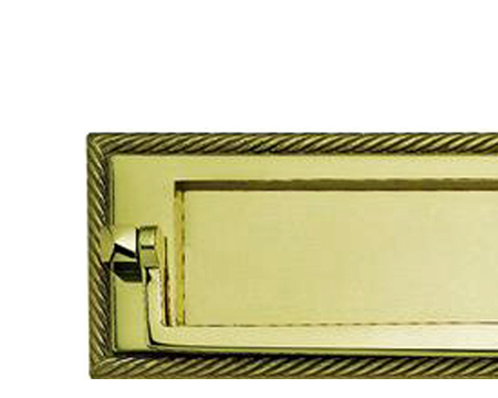 Georgian Postal Knocker Letter Plate, Polished Brass - FG25PB