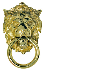 'Georgian Lion Head' Door Knocker, Polished Brass - FG8CPB