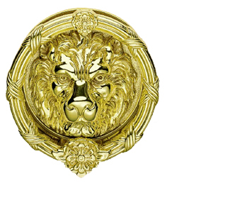 'High Quality Lion Head' Door Knocker, Polished Brass - FG8XLPB