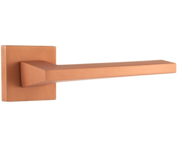 Atlantic Lorena Forme Designer Lever On Square Minimal Rose, Urban Satin Copper - FMS136USC (sold in pairs) None