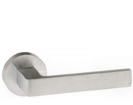 Atlantic 'Asti' Forme Designer Lever On Round Minimal Rose, Satin Chrome - FMR254SC (sold in pairs)