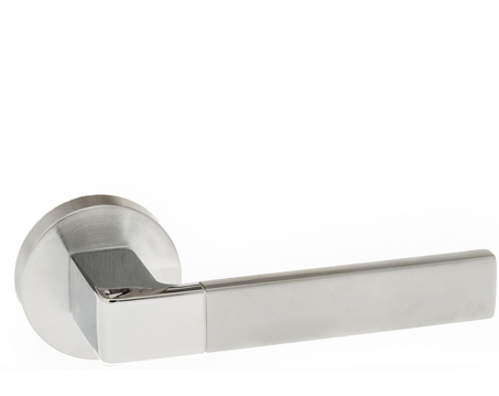 Atlantic 'Asti' Forme Designer Lever On Round Minimal Rose, Satin Chrome & Polished Chrome - FMR255SCPC (sold in pairs)