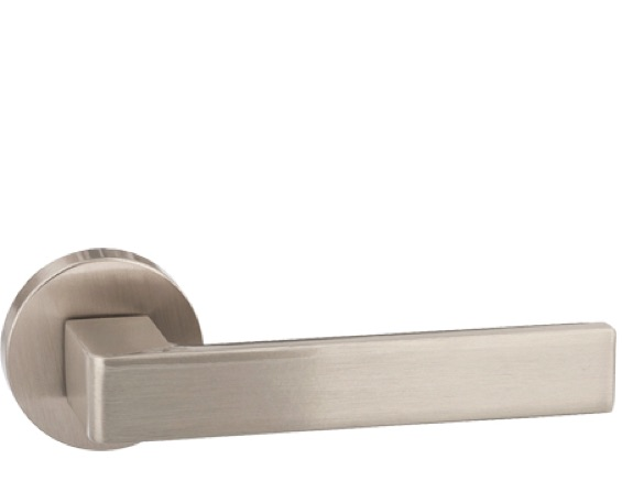 Atlantic 'Asti' Forme Designer Lever On Round Minimal Rose, Satin Nickel - FMR254SN (sold in pairs)