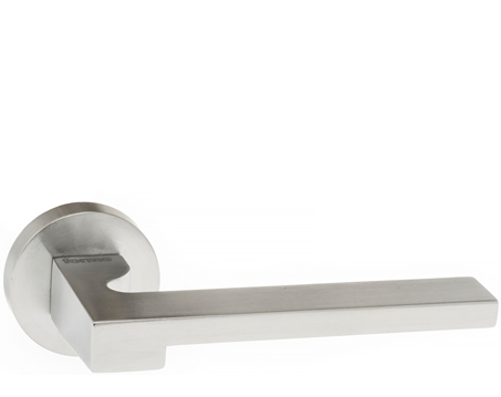 Atlantic 'Ginevra' Forme Designer Lever On Round Minimal Rose, Satin Chrome - FMR430SC (sold in pairs)