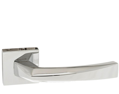 Atlantic 'Crystal' Forme Designer Lever On Square Minimal Rose, Polished Chrome - FMS268PC (sold in pairs)