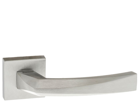 Atlantic 'Crystal' Forme Designer Lever On Square Minimal Rose, Satin Chrome - FMS268SC (sold in pairs)