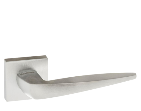 Atlantic 'Foglia' Forme Designer Lever On Square Minimal Rose, Satin Chrome - FMS272SC (sold in pairs)