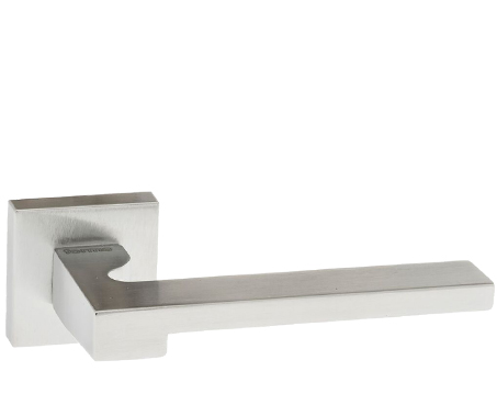 Atlantic 'Ginevra' Forme Designer Lever On Square Minimal Rose, Satin Chrome - FMS430SC (sold in pairs)