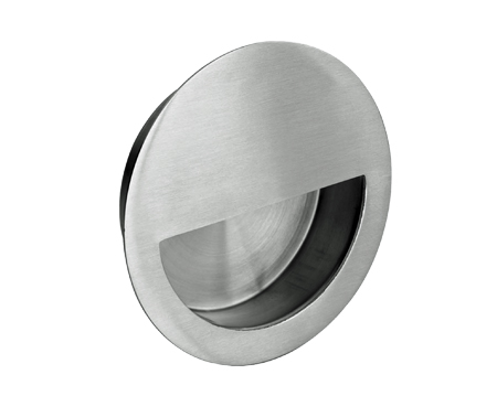 Eurospec Stainless Steel Circular Flush Pulls, 90mm Dia, Polished Or Satin (Matt) Finish - FPH1004