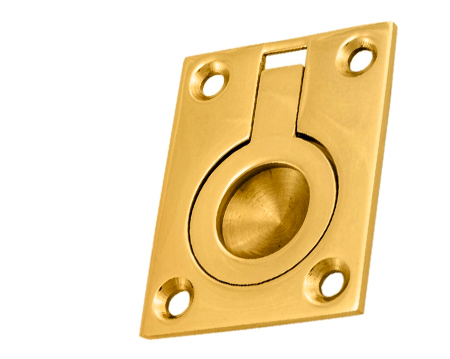 Flush Pull Rings (50mm X 38mm Or 63mm X 50mm) Polished Brass - FRP50PB