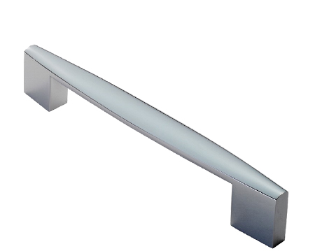 Fingertip Tapered End Square D Pull Handles (160mm C/C), Polished Chrome Or Satin Nickel - FTD2065