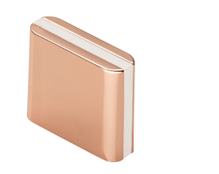 Fingertip Cebi Lewis Straight Cupboard Knob (28mm x 9mm), Copper With White Inlay - FTD429ACOP/WHT