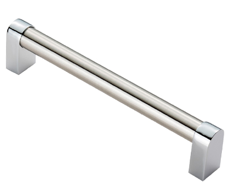 Fingertip 'Bauhaus' Cupboard Pull Handles (160mm OR 320mm C/C), Dual Finish Satin Nickel & Polished Chrome - FTD485