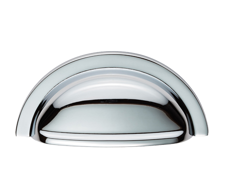 Fingertip Oxford 'Cup' Pull Handles (76mm C/C), Polished Chrome OR Satin Nickel - FTD558