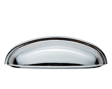 Modern Shaker 'Cup' Pull Handles (96mm C/C), Polished Chrome OR Satin Nickel - FTD559