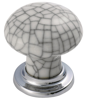 Fingertip Porcelain Cupboard Knobs (37mm), Polished Chrome With ...