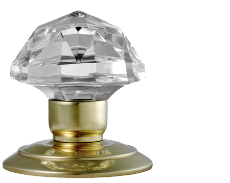 Facetted Glass Mortice Door Knobs, Polished Brass - GK001PB (sold in pairs)