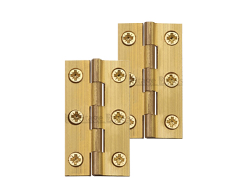 Heritage Brass Extruded Brass Cabinet Hinges (Various Sizes), Natural Brass - HG99-110-NB (sold in pairs)