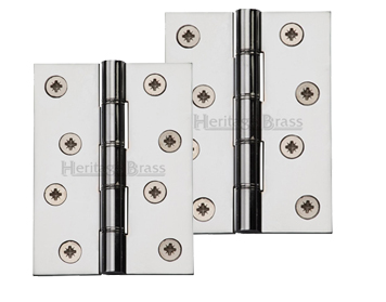 Heritage Brass 4 Inch U0027Heavier Dutyu0027 Double Phosphor Washered Butt Hinges, Polished  Chrome