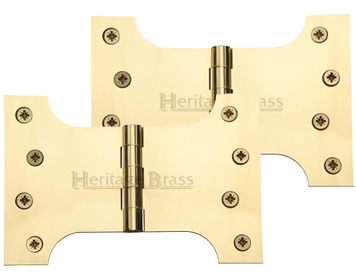 Heritage Brass 6 Inch Parliament Hinges, Polished Brass - HG99-395-PB (sold in pairs)