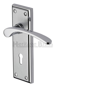 Heritage Brass Hilton Apollo Finish Satin Chrome With Polished Chrome Edge Door Handles -  HIL8600-AP (sold in pairs)