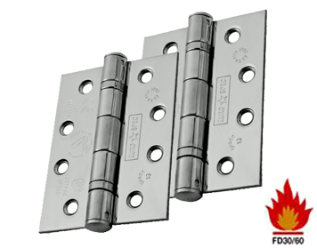 Eurospec 4 Inch 'Fire Rated' Stainless Steel Ball Bearing Hinges (Grade 13), Polished, Satin, Or (PVD) Brass - HIN1433 (sold in pairs)