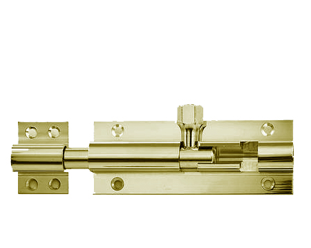 Frelan Hardware Straight Barrel Bolts, Various Lengths, Polished Brass - J1001B-PB