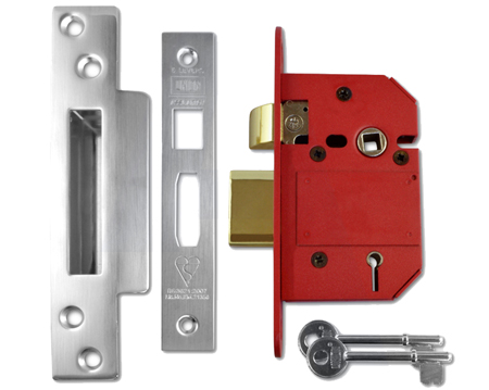 Union Strongbolt 'Insurance Rated' 5 Lever Sash Locks - Silver Or Brass Finish - J2200