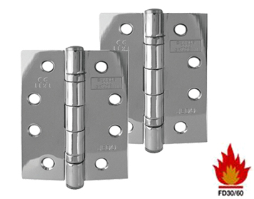 Frelan Hardware 4 Inch Ball Bearing Hinges, Polished Chrome - J8500PC (sold in pairs)