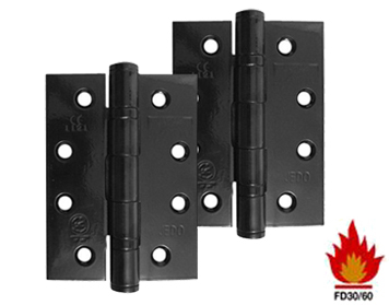 Frelan Hardware 4 Inch 'Fire Rated' Stainless Steel Ball Bearing Hinges, Black Finish - J9500BL (sold in pairs)