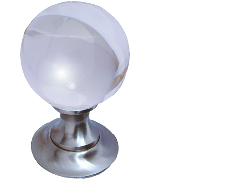 Jedo Collection Plain Ball Glass Mortice Door Knobs, Polished Chrome, Satin Nickel Or Polished Brass - JH1150