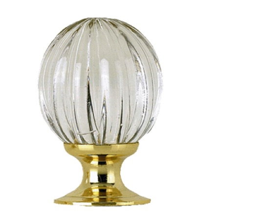 Jedo Collection Pumpkin Glass Cupboard Knobs (25mm, 30mm Or 35mm), Polished Brass - JH1152PB