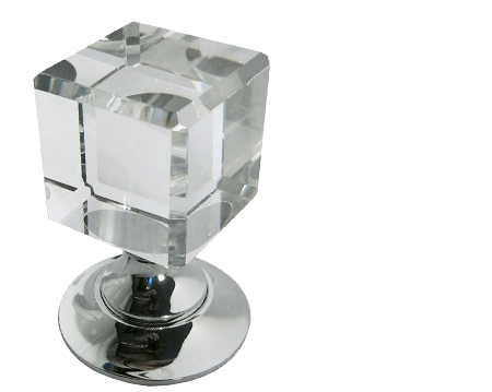 Jedo Collection Cube Glass Mortice Door Knobs, Polished Nickel - JH1170PN