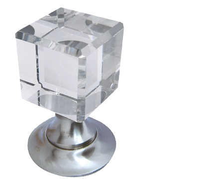 Jedo Collection Cube Glass Mortice Door Knobs, Satin Nickel - JH1170SN