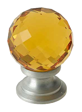 Jedo Collection Amber Facetted Glass Cupboard Knobs (25mm, 30mm Or 40mm), Polished Chrome, Satin Chrome Or Polished Brass - JH1256 None
