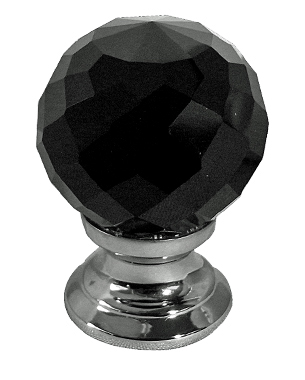 Jedo Collection Black Facetted Glass Cupboard Knobs (25mm, 30mm Or 40mm), Polished Chrome, Satin Chrome Or Polished Brass - JH1257 None