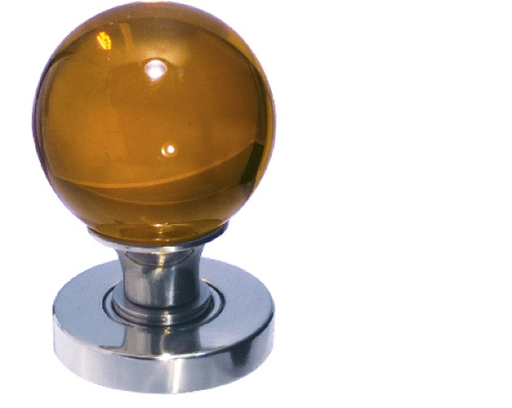Jedo Collection Amber Plain Glass Ball Mortice Door Knobs, Polished Chrome Or Satin Chrome - JH5205