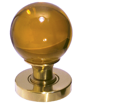 Amber Plain Glass Ball Mortice Door Knobs, Polished Chrome, Satin Chrome Or Polished Brass - JH5205