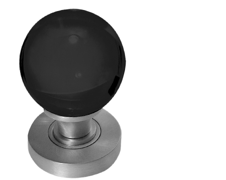 Jedo Collection Black Plain Glass Ball Mortice Door Knobs, Polished Chrome, Satin Chrome Or Polished Brass - JH5206