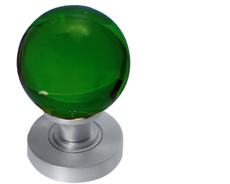 Jedo Collection Green Plain Glass Ball Mortice Door Knobs, Polished Chrome, Satin Chrome Or Polished Brass - JH5208