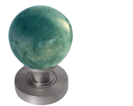 Jedo Collection Green Marble Mortice Door Knobs, Polished Chrome, Satin Chrome Or Polished Brass - JH5212 (sold in pairs)