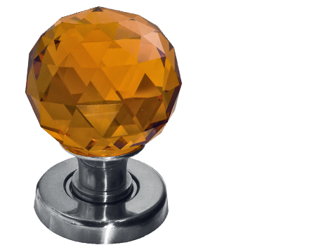 Jedo Collection Amber Facetted Glass Mortice Door Knobs, Polished Chrome, Satin Chrome Or Polished Brass - JH5256
