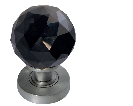 black facetted glass mortice door knobs polished chrome satin chrome or polished brass