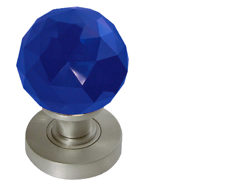 Jedo Collection Blue Facetted Glass Mortice Door Knobs, Polished Chrome, Satin Chrome Or Polished Brass - JH5258