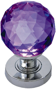 Purple Facetted Glass Mortice Door Knobs Polished Chrome Satin Chrome Or Po