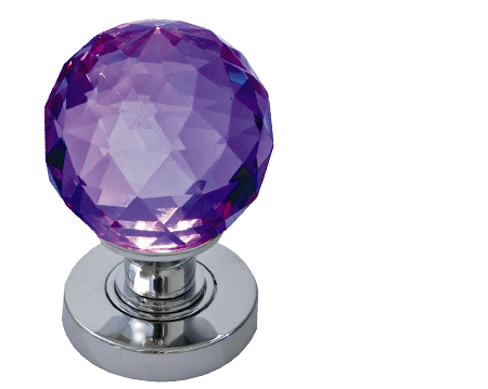 Jedo Collection Purple Facetted Glass Mortice Door Knobs, Satin Chrome Or Polished Brass - JH5260