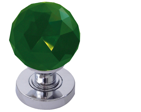 Jedo Collection Green Facetted Glass Mortice Door Knobs, Polished Chrome, Satin Chrome Or Polished Brass - JH5259